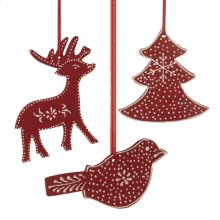 Bird, Deer, & Tree Ornament. (12 pc. ppk.)