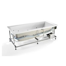 White Rectangular acrylic bath with Total hydromassage and waste kit