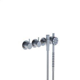 Two-handle build-in mixer with 1/4 turn ceramic disc technology - Brushed stainless steel