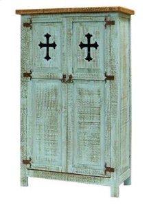 Turquoise 2 Door Cabinet W/Cross