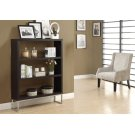 """BOOKCASE - 60""""H / CAPPUCCINO / CHROME METAL ROOM DIVIDER Product Image"""