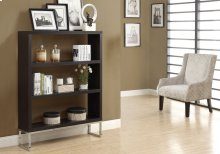 "BOOKCASE - 60""H / CAPPUCCINO / CHROME METAL ROOM DIVIDER"