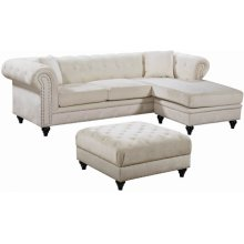 "Sabrina Velvet Reversible 2pc. Sectional - 96"" W x 67"" D x 31"" H"