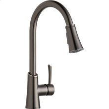 Elkay Gourmet Single Hole Kitchen Faucet with Pull-down Spray and Forward Only Lever Handle Antique Steel