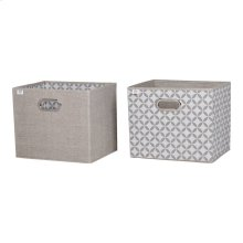 Fabric Storage Baskets, 2-Pack - Taupe and White