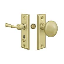 Storm Door Latch, Rectangular, Tubular Lock - Polished Brass