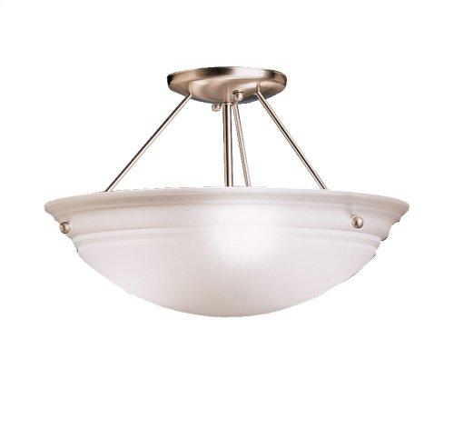 Cove Molding Top Glass Collection Cove Molding 3 Bulb Semi Flush Ceiling Light NI