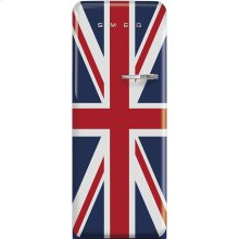 "Approx 24"" 50'S Style Refrigerator with ice compartment, Union Jack, Left hand hinge"