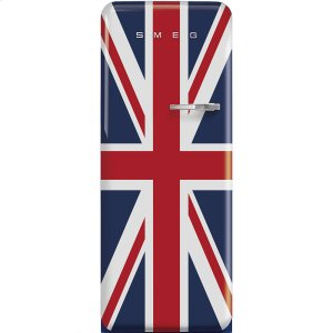 Smeg50'S Style Refrigerator with ice compartment, Union Jack, Left hand hinge