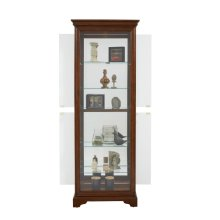 Mirrored 5 Shelf Gallery Curio Cabinet in Oak Brown