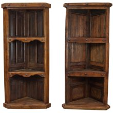 Old Wood Hand-Crafted Corner Bookcase