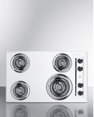 "30"" Wide 220v Electric Cooktop In White Porcelain Finish Product Image"