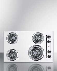 """30"""" Wide 220v Electric Cooktop In White With 4 Coil Elements"""