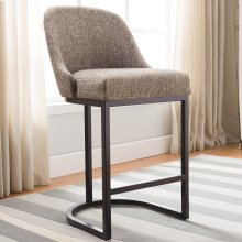 Barrelback Gray Linen Counter Stool with Espresso Metal Base #10132 ES/GL - Set of 2