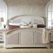 Aberdeen - Full/queen Reeded Headboard - Weathered Worn White Finish
