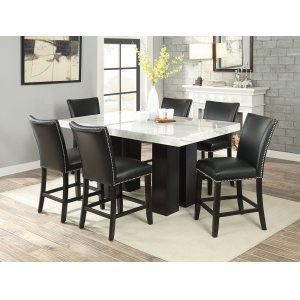 Steve Silver Co.Camila 7 Piece Rectangular White Marble Top Counter Set(Counter Table & 6 Counter Chairs)