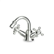 "Single hole bidet mixer, fixed spout, aerator, 1 1/4"" pop-up waste, flexible pipes."
