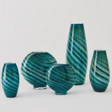 Aqua Green Swirl Vase-Sm