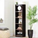 5-Shelf Narrow Bookcase - Weathered Oak and Ebony Product Image