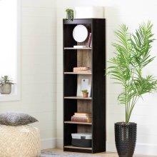 5-Shelf Narrow Bookcase - Weathered Oak and Ebony