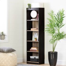 5-Shelf Narrow Bookcase - Weathered Oak and Ebony
