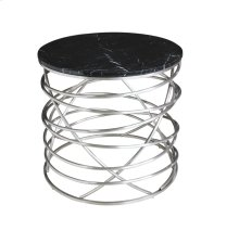 Round End Table Black Marble Top W/stainless Base