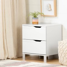 2-Drawer Nightstand - End Table with Storage - Pure White
