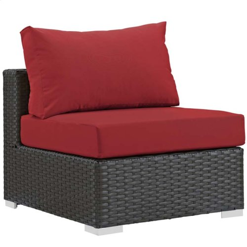 Sojourn 5 Piece Outdoor Patio Sunbrella® Sectional Set in Canvas Red