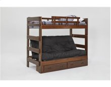 Heartland Futon Bunk Bed with Metal Deck with options: Chocolate, Futon Mattress Included