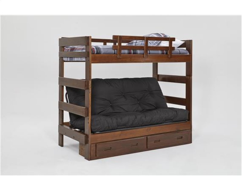 Heartland Futon Bunk Bed With Metal Deck Options Chocolate Mattress Included