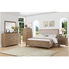 Emerald Home 5 Piece Set Torino Weathered Brown Queen Bed, Dresser, Mirror, Chest, and Nightstand