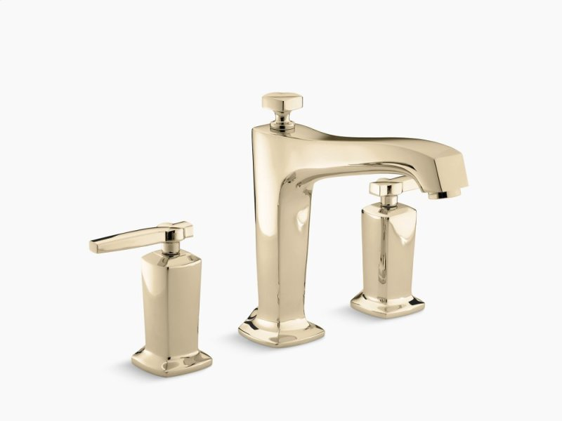 Vibrant French Gold Deck Mount Bath Faucet Trim For High Flow Valve With Non
