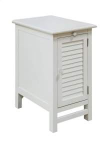 Cape May Cottage White Shutter Door and 1 Pull Shelf Chairside Table