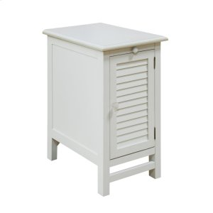 CRESTVIEW COLLECTIONSCape May Cottage White Shutter Door and 1 Pull Shelf Chairside Table