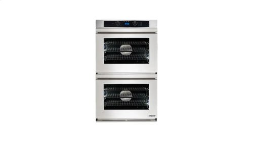 "Renaissance 30"" Double Wall Oven in Black Glass - ships with stainless steel Pro Style handle."