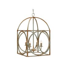 Rust Metal Birdcage Chandelier