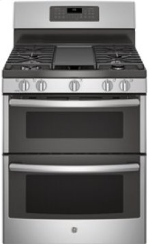 """30"""" Free-Standing Double Oven Gas with Convection and Self-Cleaning w/Steam Clean Range"""