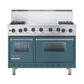 """Iridescent Blue 48"""" Sealed Burner Self-Cleaning Range - VGSC (48"""" wide, four burners & 24"""" wide griddle/simmer plate)"""