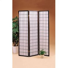 Transitional Three-panel Black Folding Screen