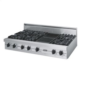 "Stainless Steel 48"" Open Burner Rangetop - VGRT (48"" wide, six burners 12"" wide char-grill)"
