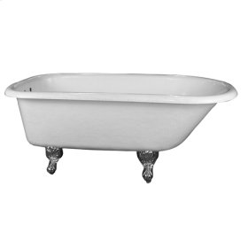 """Andover 60"""" Acrylic Roll Top Tub - White - Polished Nickel"""