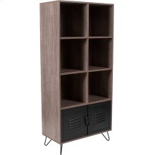 "Woodridge Collection 59.25""H 6 Cube Storage Organizer Bookcase with Metal Cabinet Doors and Black Metal Legs in Rustic Wood Grain Finish"