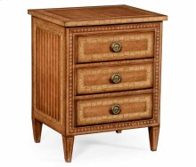 Satinwood & Floral Inlay Bedside Chest of Drawers