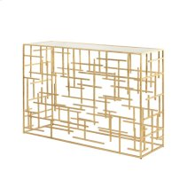 Gold Leaf Abstract Console With Mirror Top
