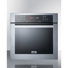"24"" Wide Electric Wall Oven With Stainless Steel Exterior, Black Glass Door, and Advanced Digital Controls"