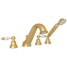 Inca Brass 4-Hole Deck Mounted Bathtub Filler With Handshower with Arcana Ornate Metal Lever