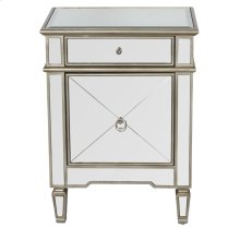 Mirrored Nightstand With Painted Silver Edge and Crosshatch Detailing