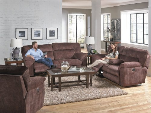 Pwr Lay Flat Reclining Console Loveseat w/Strg & Cupholders - Granite