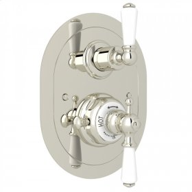 Polished Nickel Perrin & Rowe Edwardian Era Oval Thermostatic Trim Plate With Volume Control with Metal Lever