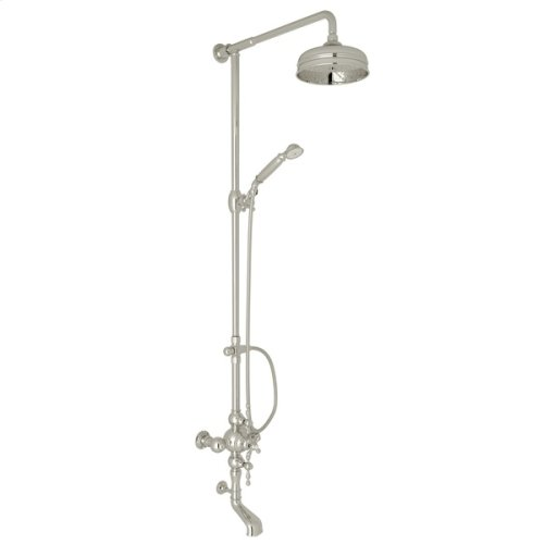 Polished Nickel Arcana Exposed Wall Mount Thermostatic Tub/Shower With Volume Control with Arcana Series Only Ornate Metal Lever